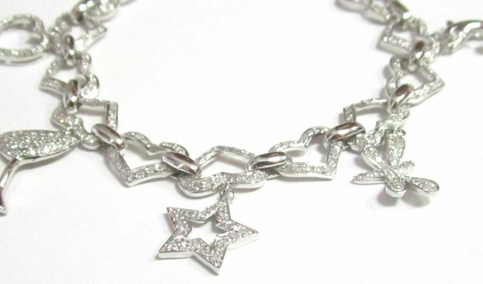 Fine 2.50TCW Diamond Heart Charm Dangling Bracelet G SI1 7Inches 14k White Gold