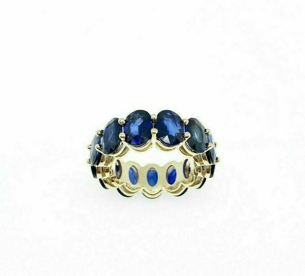 10.75 Carats t.w. Oval Blue Sapphires Custom Made Eternity Ring 14K Yellow Gold