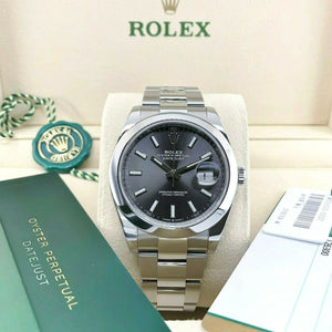 Rolex Datejust II Rhodium Watch Stainless Steel Oyster Smooth Bezel Ref # 126300