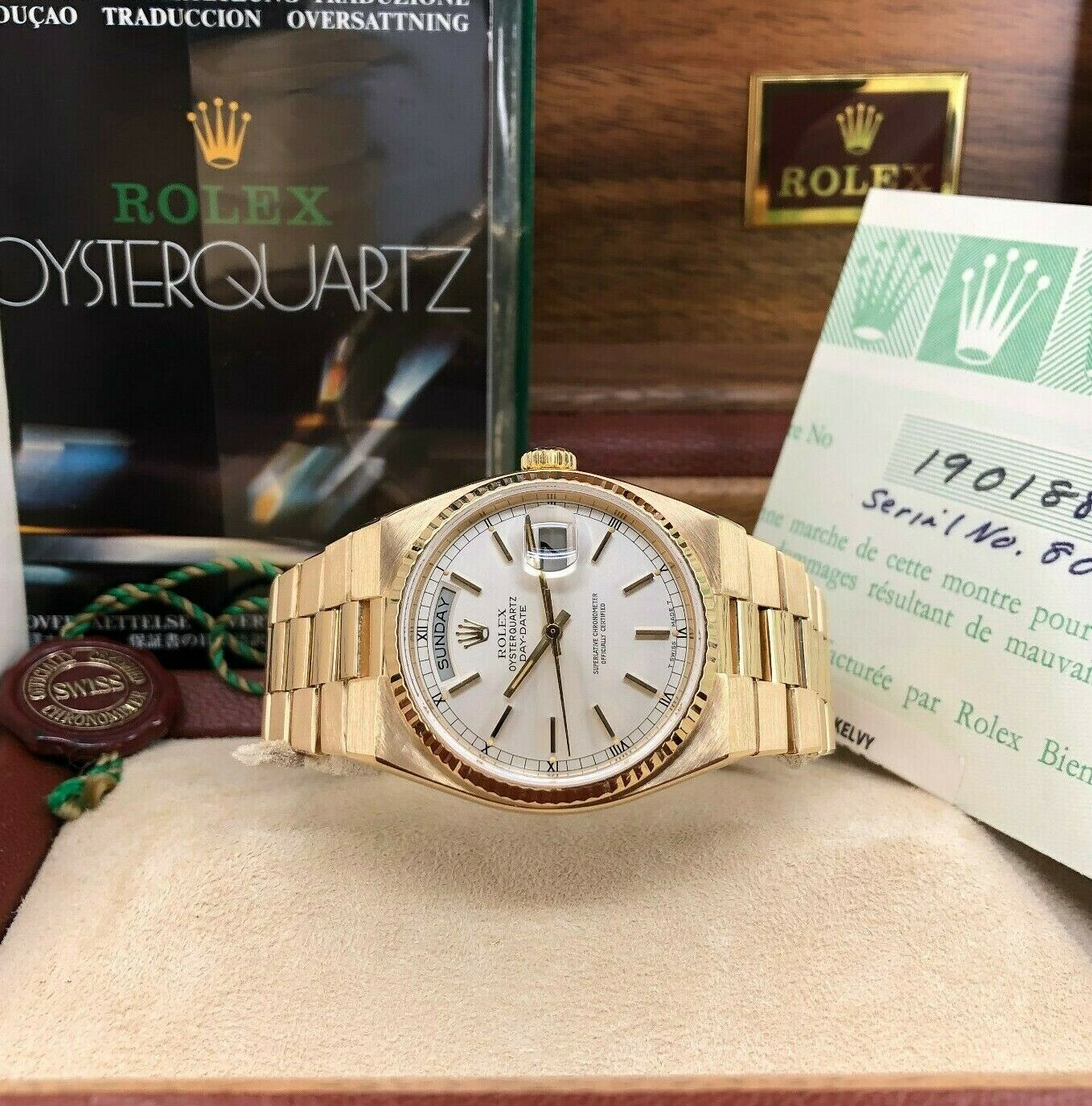 Rolex 36mm Day Date President Quartz 18k Yellow Gold Ref 19018 Box and Papers