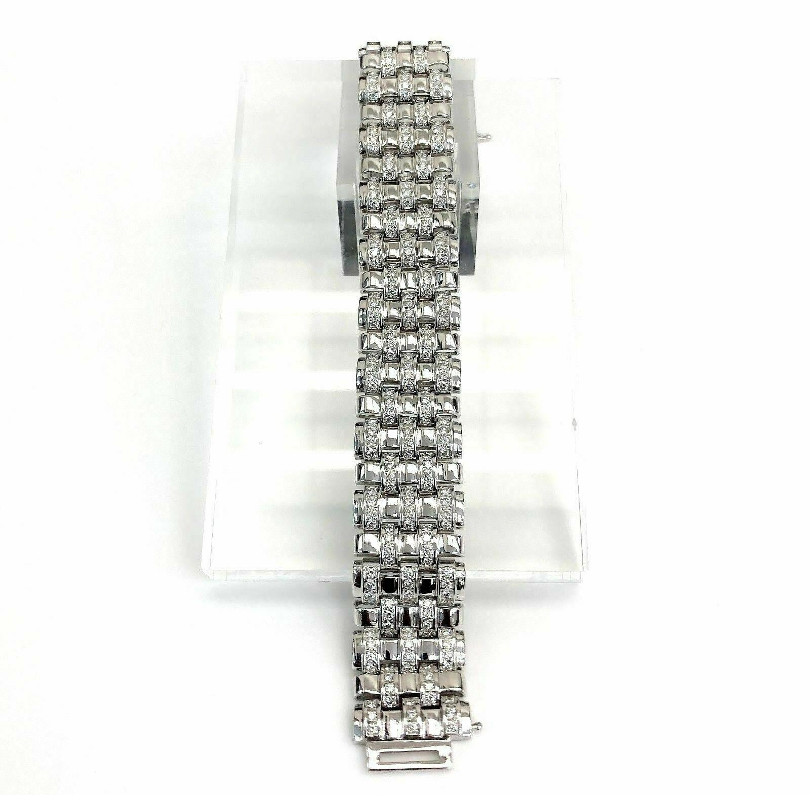 3.75 TCW Round Brilliant Cut Diamond Bracelet in 18K White Gold Link Fancy Style