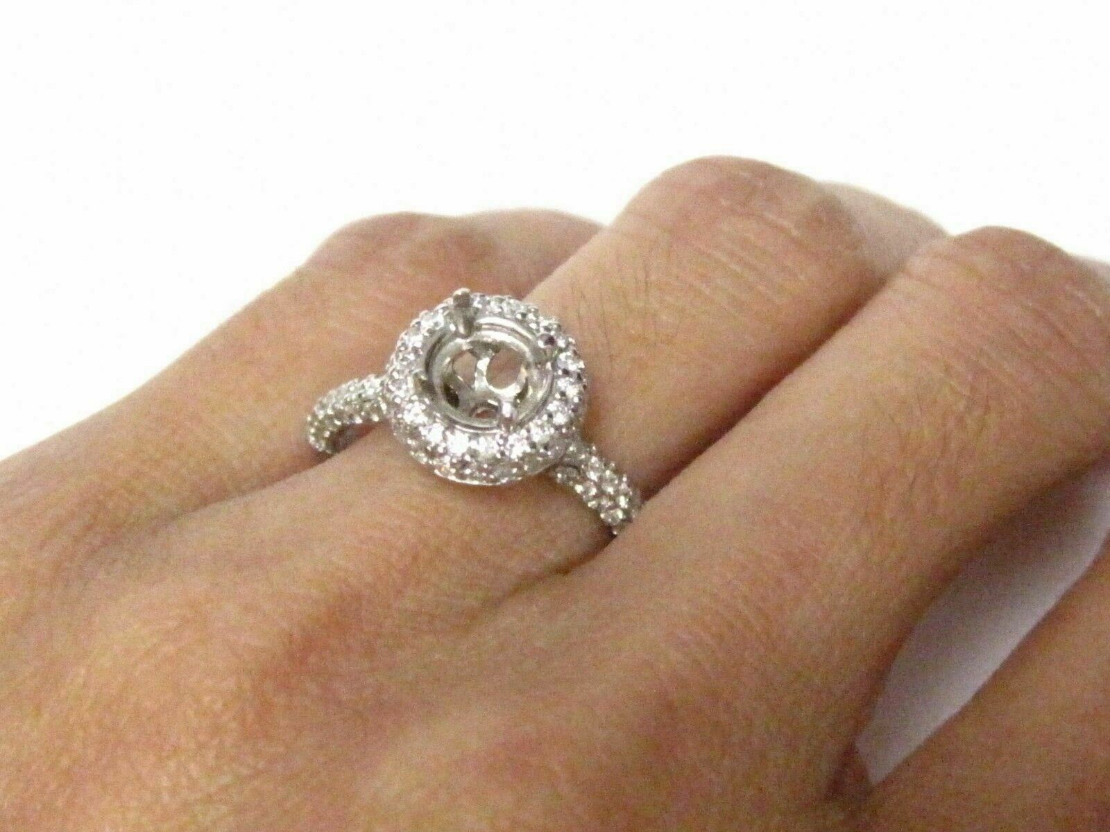 4 Prongs Semi-Mounting for Round Cut Diamond Ring Engagement 14k W/G