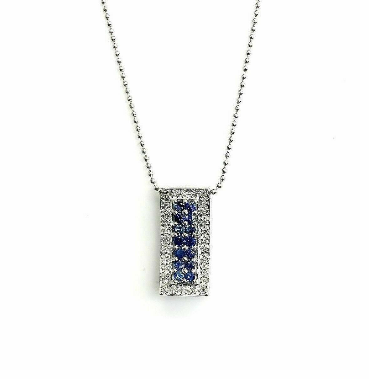 0.85 Carats t.w. Blue Sapphire and Diamond Pendant 14K Gold Pendant w 14K Chain