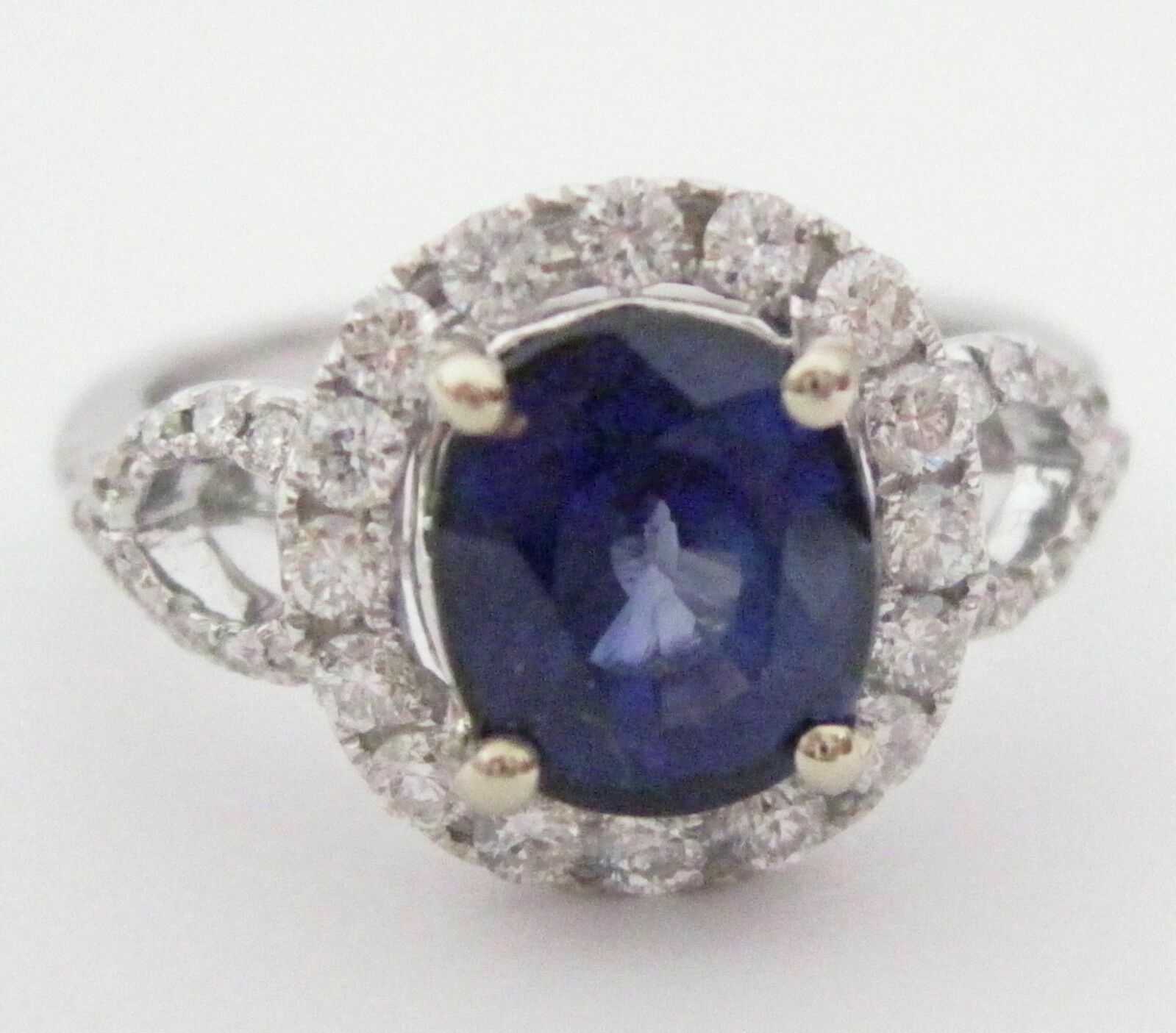 3.18 TCW Natural Blue Sapphire & Diamond Accents Ring Size 6 14k White Gold