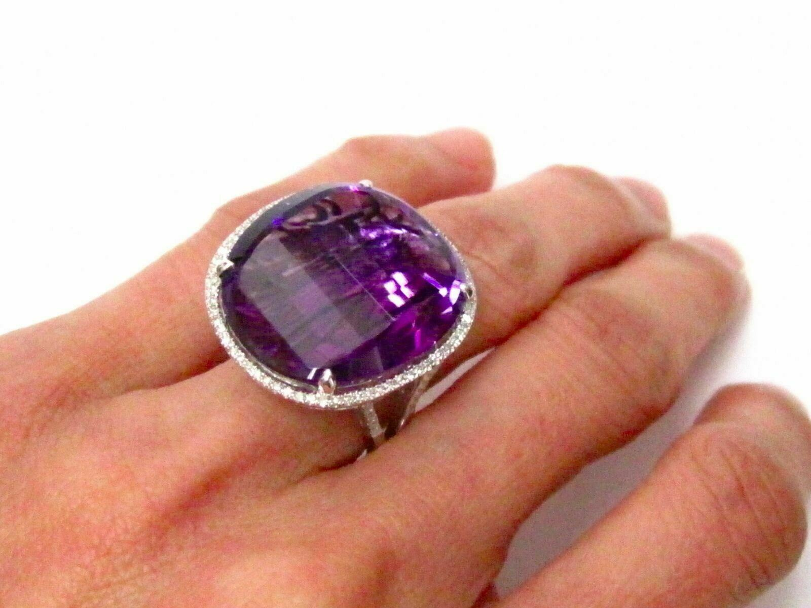 24.66 TCW Natural Round Amethyst & Diamond Accents Cocktail Ring Size 7 14k Gold