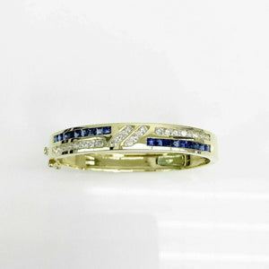 $9,550 Retail 4.84 Carats t.w. Diamond and Sapphire Bangle Bracelet 18K Gold New