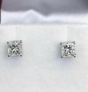 1.20 Carats t.w. Diamond Princess Cut Stud Earrings F Color SI Clarity 14K Gold