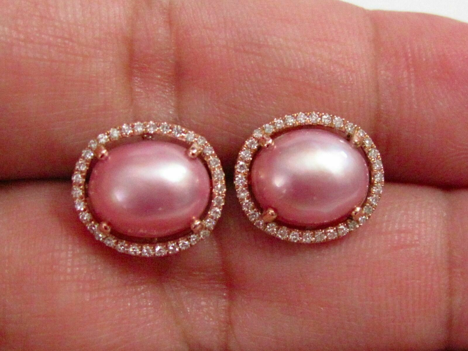 4.10 TCW Oval Pink Pearl & Diamond Stud Earrings Push Back F SI-1 14k Rose Gold