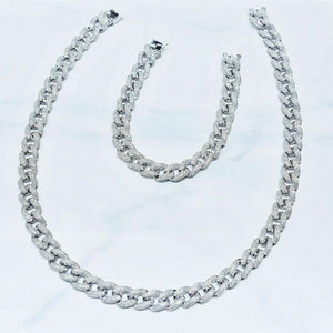 15.07 tcw Diamond Nacklace & Bracelet Set Curb Link in 14K White Gold