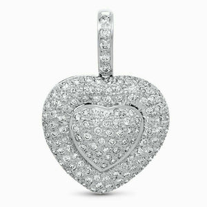 1.37 Carats Micro Pave Diamond Heart Pendant 14K White Gold 1.25 x 0.85 Inch