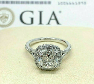 3.67 Carats tw Cushion GIA F SI1 Halo Split Platinum Hand Made Engagement Ring