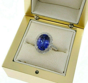 5.20 Carats Diamond and Oval Tanzanite Halo Celebration Ring 14K White Gold