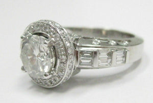 2.92 TCW EGL Round Halo Diamonds Solitaire Engagement Ring E-F SI2 18k WG
