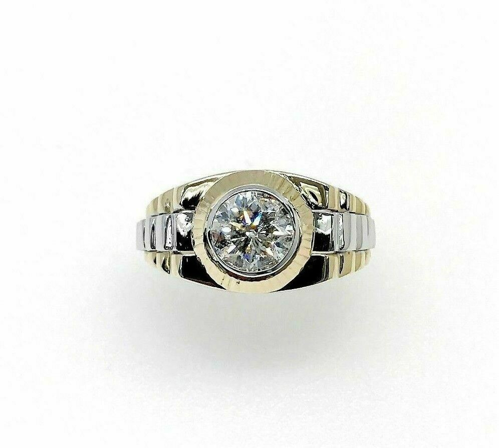 1.15 Carats Round Cut Diamond Signet Mens Ring 14K Two Tone Gold 15 Grams