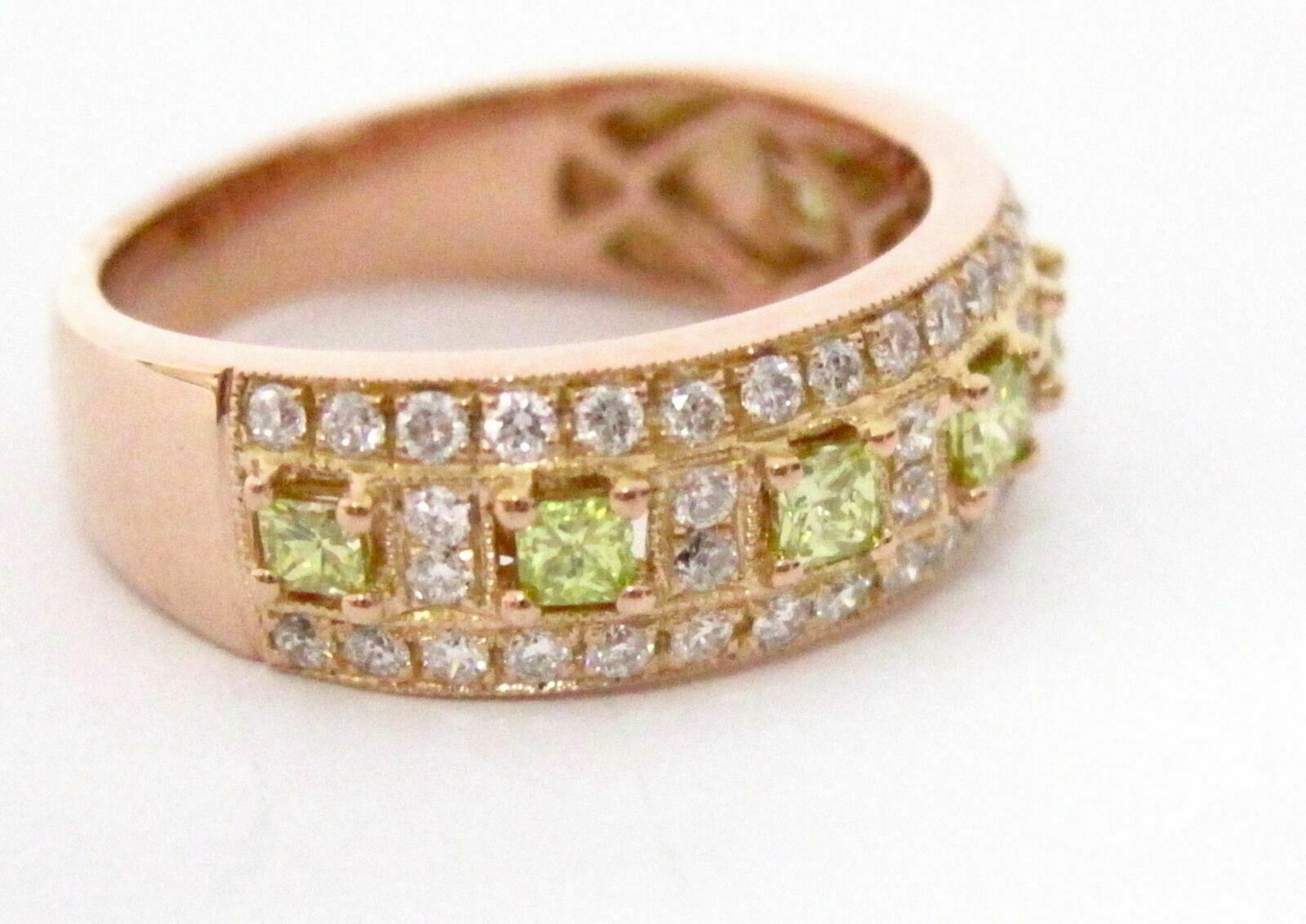 1.25 TCW Natural Princess Cut Green Diamond Cocktail Ring Size 7 14k Rose Gold