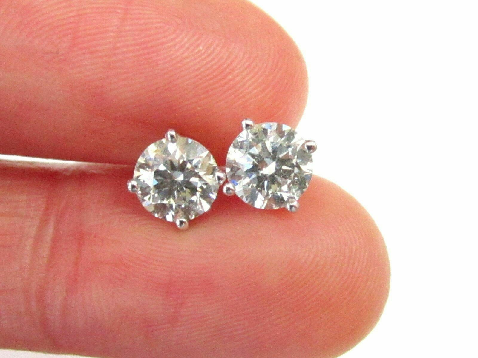 .55 Carats Round Brilliant Cut Diamond Stud Earrings Screw Back G-H I1 14k Gold