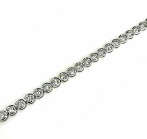 6.95 Carats t.w. Hand Bezel Set Diamond Tennis Bracelet 18K Gold .20 Pointers