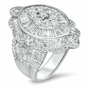 5.45 Carats t.w. Diamond Anniversary Celebration Ring 18K Gold 1.15 Inch Length