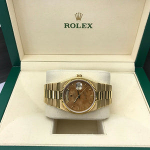 Rolex Day Date President 36mm Exotic Wood Dial Quartz 18k Yellow Gold Ref 19018