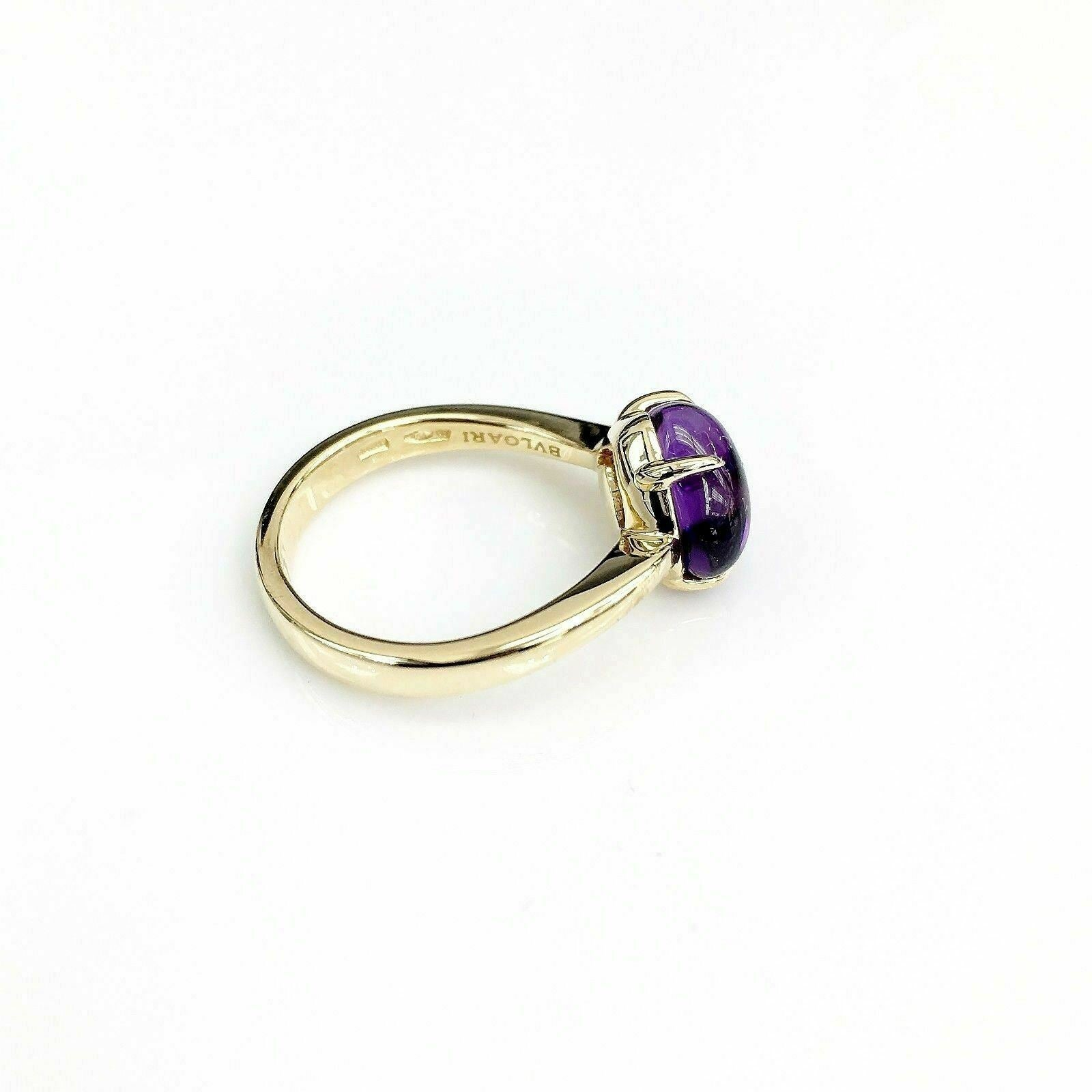 Authentic Bvlgari Solid 18 Karat Gold Sassi Amethyst Ring with Box Made in Italy