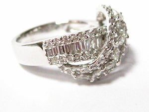 1.80 TCW Multi-Shape Baguette,Round & Marquise Diamond Cocktail Ring Sz 7 18k WG