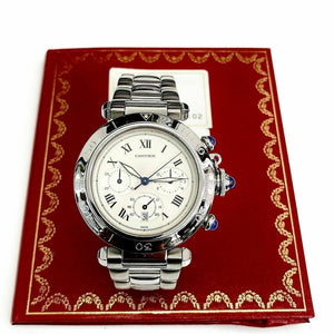 Cartier Pasha 38 MM Quartz Chronograph Stainless Steel Watch Ref # 1050