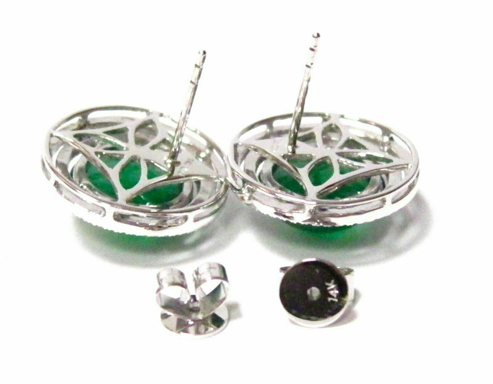 Fine Round Green Carneilan Gem Diamond Earrings 14kt White Gold