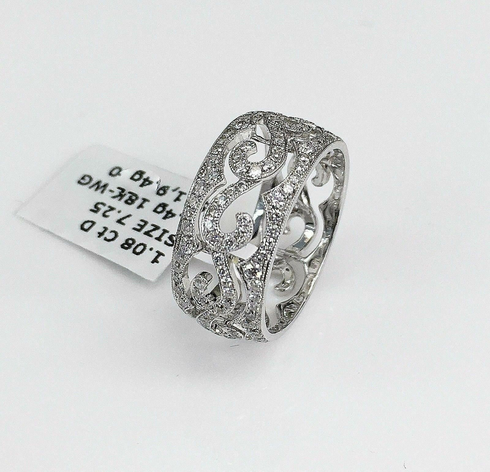 1.08 Carats t.w. Diamond Pave Eternity Ring 18K Gold Brand New 80% Diamonds