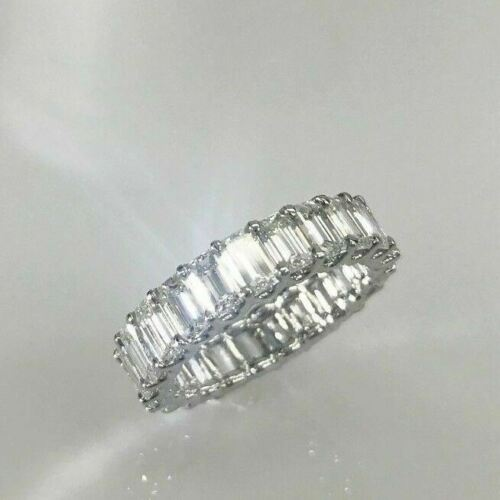 4.50 TCW Emerald Cut Diamond Eternity Wedding Band in Platinum U Setting