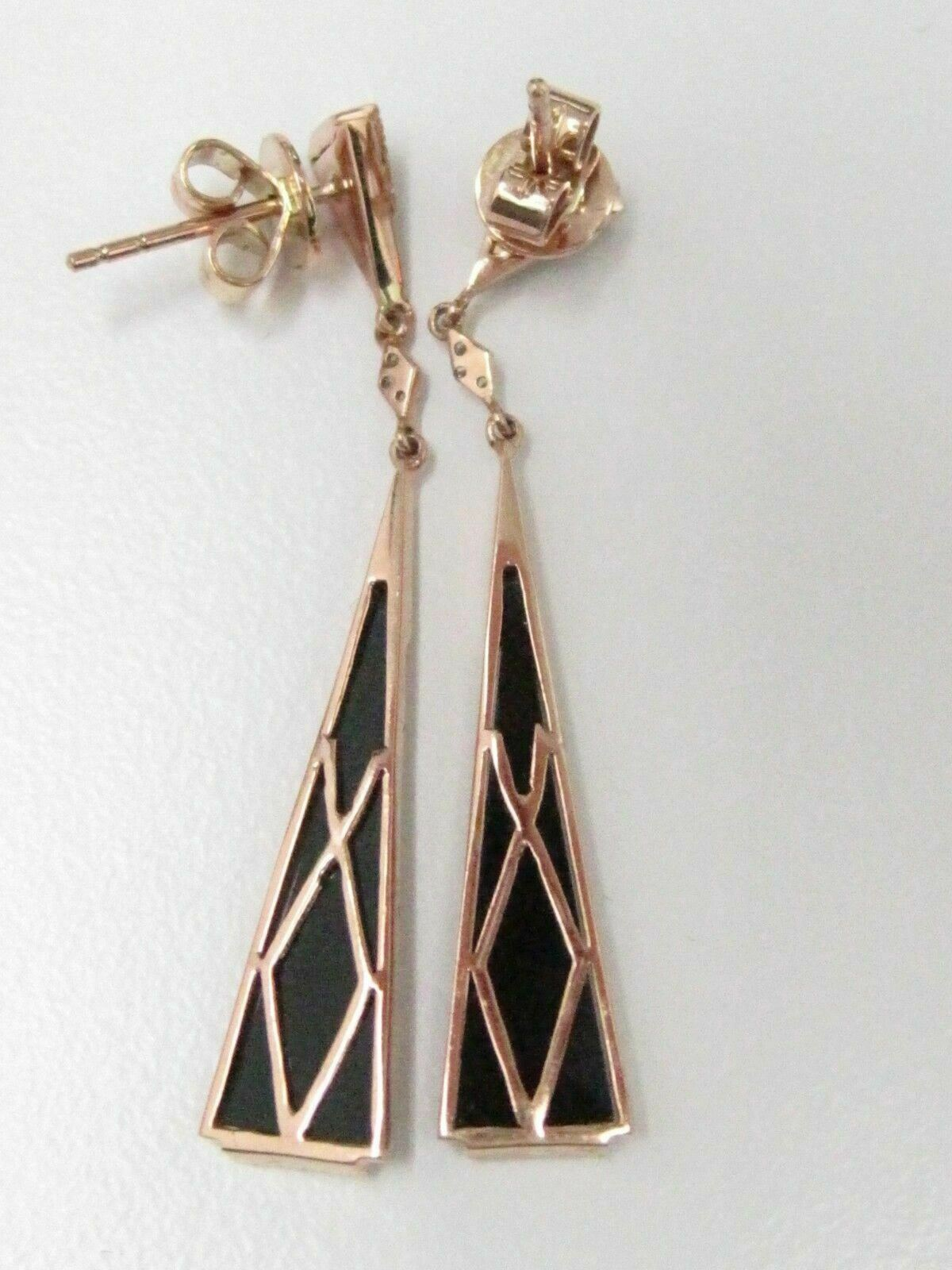 .22 TCW Natural Elongated BLACK ONYX Diamond Dangle Earrings 14kt Rose Gold