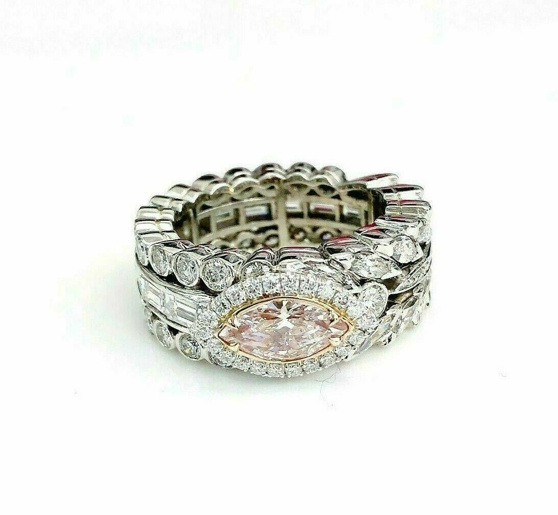 Natural 0.81 Carat GIA Fancy Pink Diamond w 3.60 Carats in Custom Eternity Ring