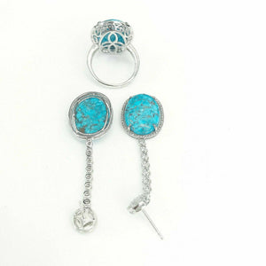14K white Gold Turquoise Set w/ halo Diamond Dangle Drop Earrings and Ring