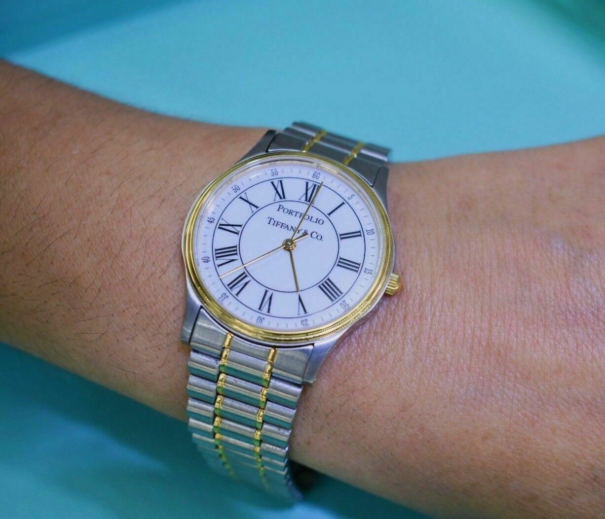 Tiffany & Co. 18K Yellow Gold and Stainless Steel Portfolio Watch