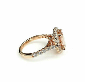 3.88 Carats Diamond and Oval Morganite Halo Cocktail Ring 14K Rose Gold New