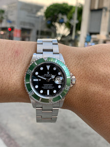 Kermit Rolex Submariner Date 16610 S/Steel W/ Bezel Black Dial 40mm Watch