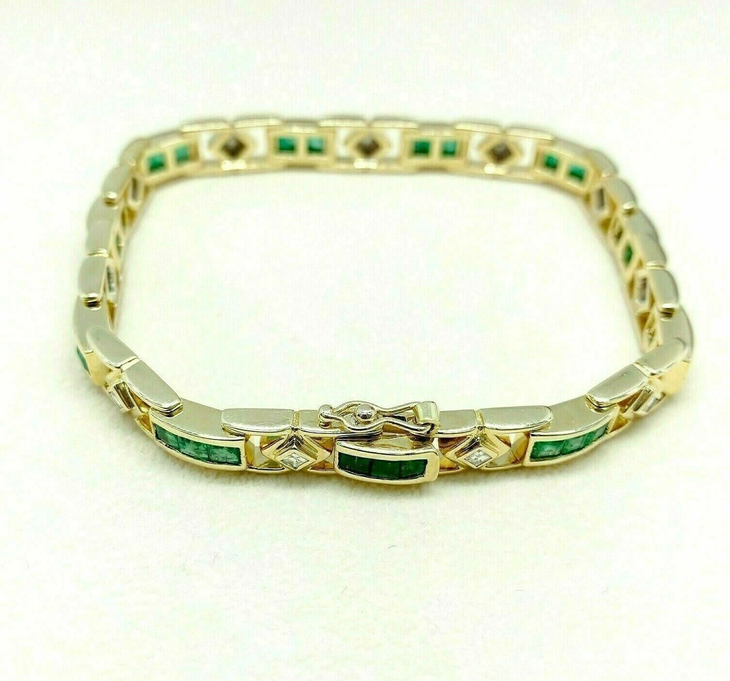 3.45 Carats t.w. Emerald and Asscher Diamond Tennis Bracelet 18K Yellow Gold