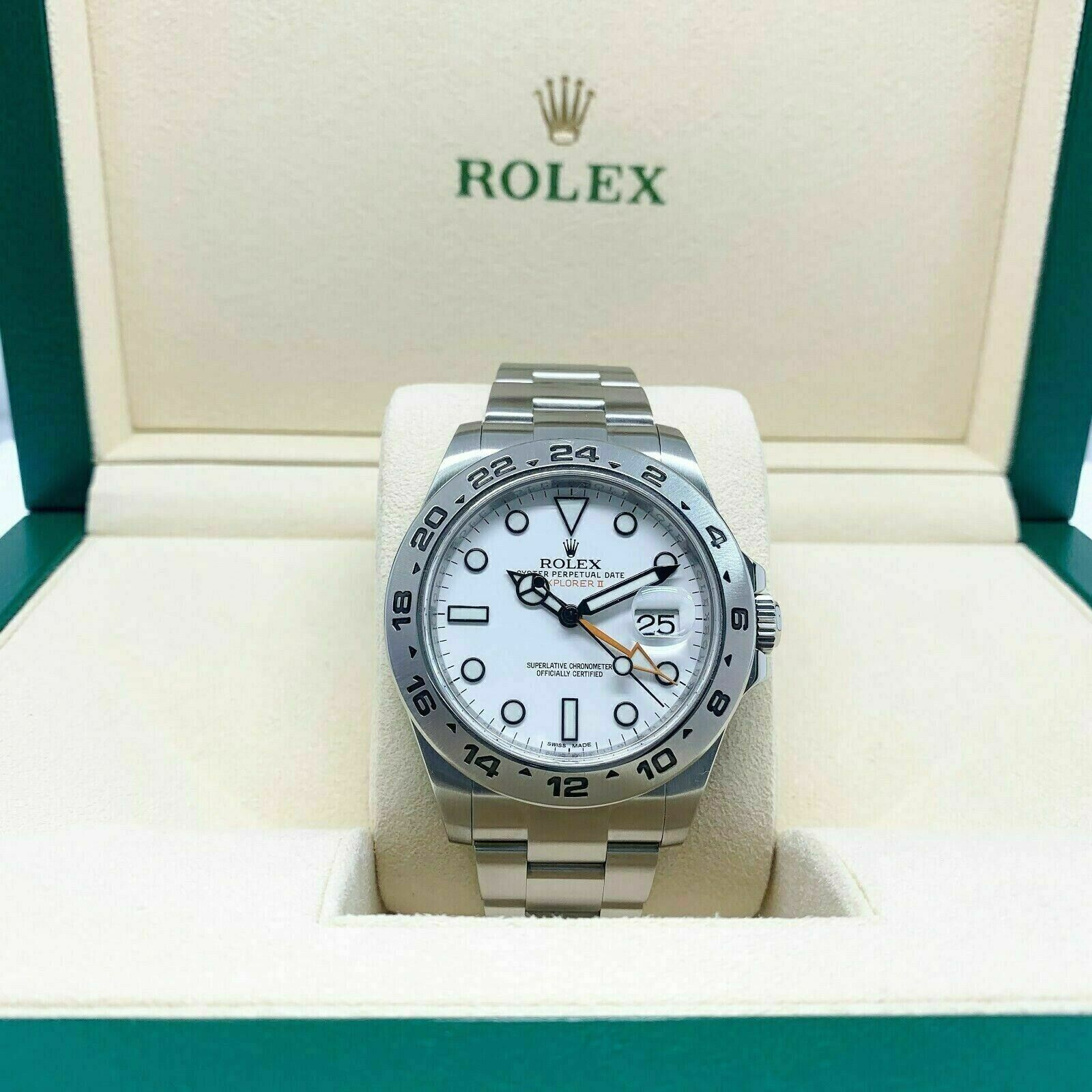 Rolex 42MM Polar Explorer II Stainless Watch Ref # 216570 Engraved Serial