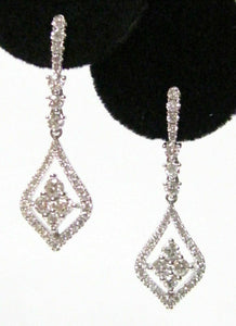 Round Brilliant Diamond Marquise Shape Dangling Earrings G VS2 18k White Gold