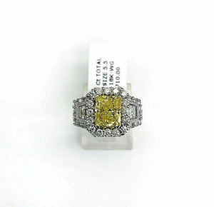 Loose GIA Diamond - Fancy Vivid Yellow GIA Radiant Cut 2.04 Carats Diamond SI1