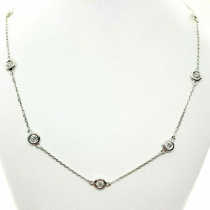 1.40 Carats t.w. Hand Assembled Diamond by The Yard Necklace Chain 14K Gold
