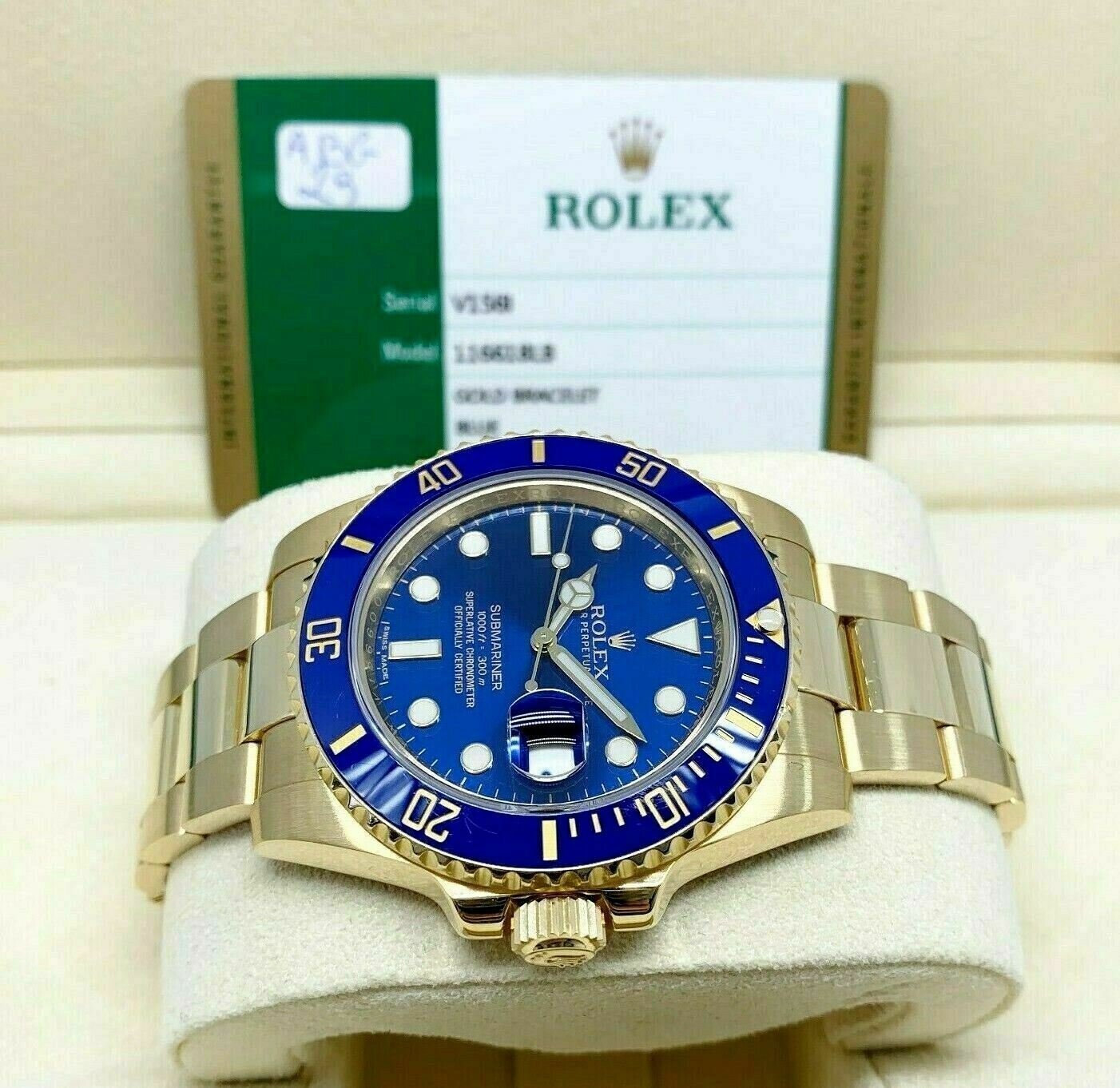 Rolex 40MM 18K Yellow Gold Blue Submariner Date Ref 116618LB Box and Card