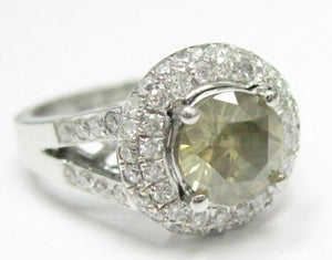 2.38 TCW Round Fancy Green Yellow Solitaire Diamond Engagement Ring 18kt WG