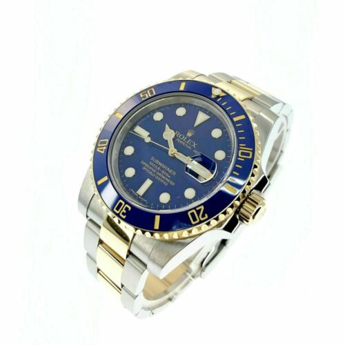 Rolex 40MM Ceramic 18K Gold Steel Blue Submariner Date Ref 116613LB Box and Card