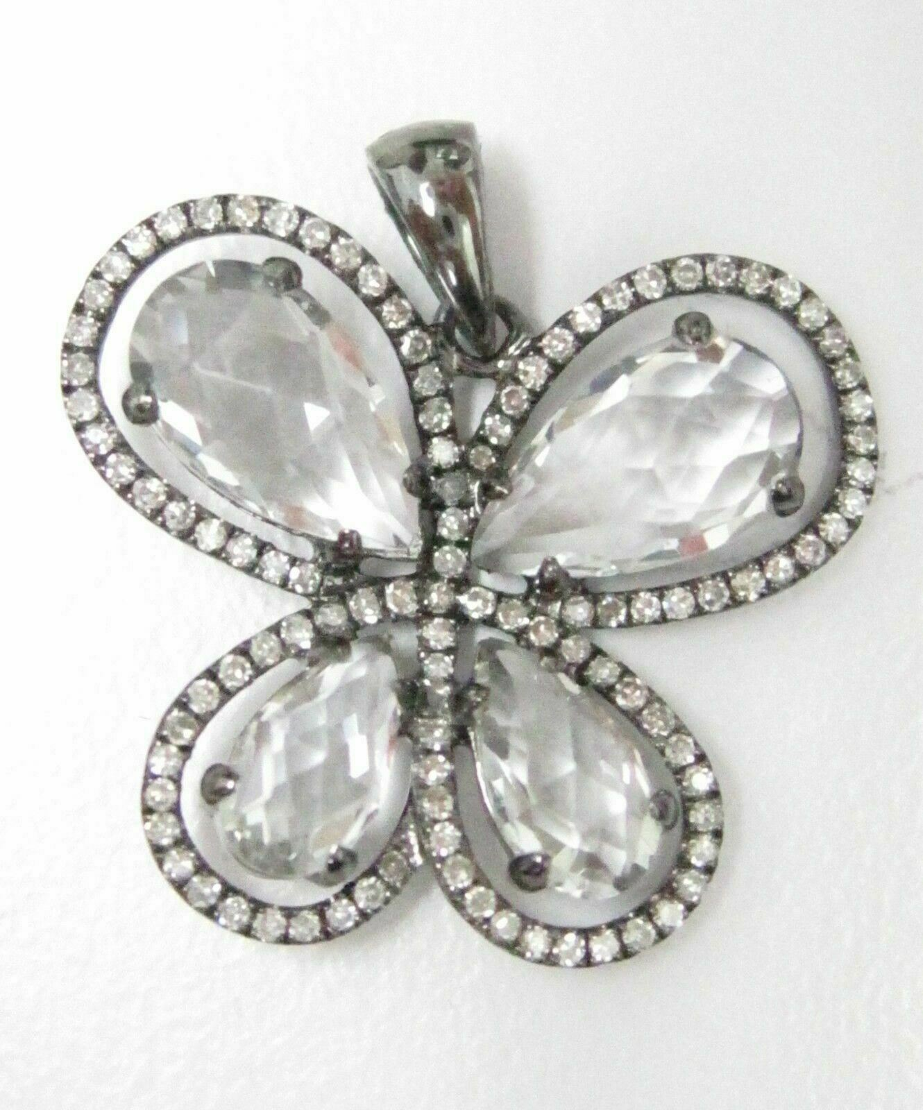 4.50 TCW White Topaz Round Brilliant Diamond Butterfly Pendant 14kt White Gold