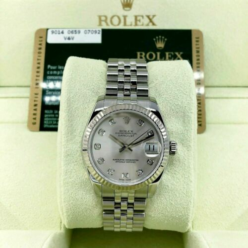 Rolex 31MM Lady Diamond Datejust 18 Karat White Gold Steel Watch Ref # 178274
