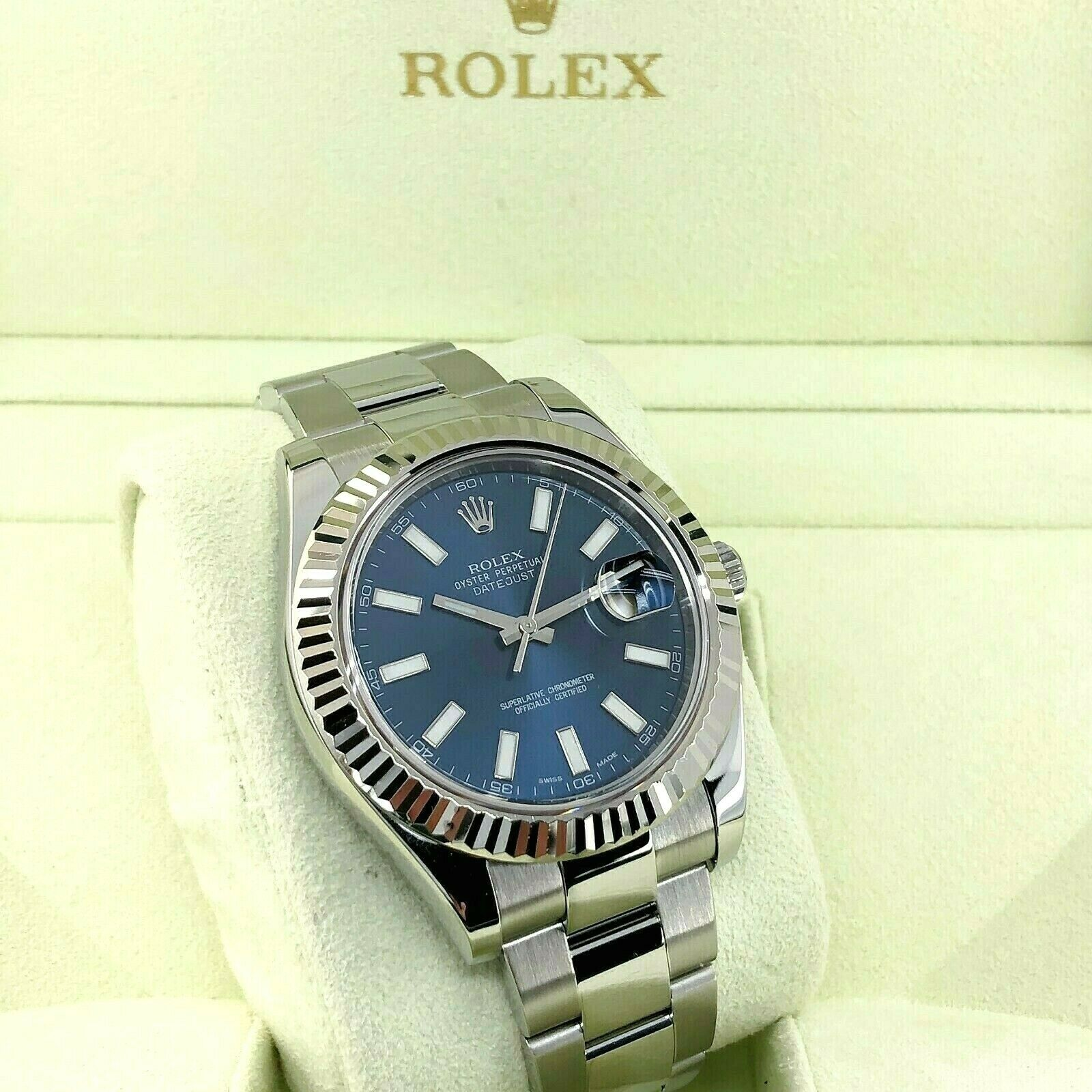 Rolex 41MM Datejust II Watch 18K Gold Fluted Bezel Stainless Steel Ref 116334