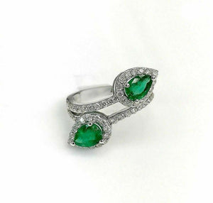 2.39 Carats t.w. Diamond and Natural Emerald Bypass Ring 14K White Gold