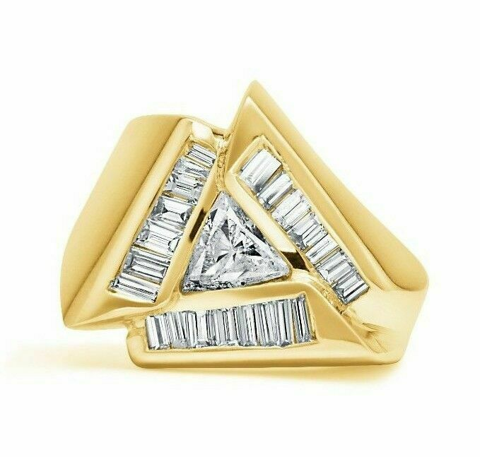 1.75 TCW Trillion White Diamond with Baguette Sides 14k Yellow Gold Ring sz 6.5