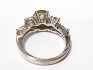 FINE Round Fancy Yellow Natural Diamond Engagement Ring 18kt White Gold