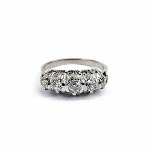 Antique Platinum 0.48 Carat t.w. Diamond Wedding/Anniversary Ring Circa 1950's